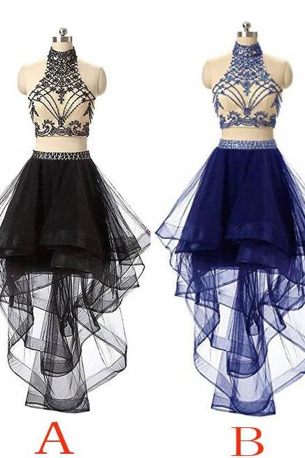 Unique Black Tulle High Neck Homecoming Dress,High-low Beading Short Prom Dress,Evening Dresses for Teens,Two Piece Prom Dress,Royal Blue Dress,2018 Sexy Backless High Low Prom Dresses