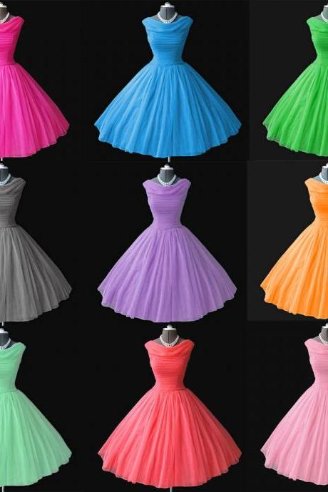 1950's 50s Vintage Bridesmaid Dresses Ball Gown Bateau Neckline Tea-Length Prom Dresses Short Party Gowns Homecoming ,Graduation Dresses New,Ruffle Wedding Party Gowns