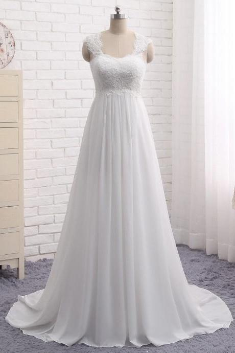 New Arrival White Chiffon Lace Wedding Dresses 2018 Plus Size Ruffle China Wedding Gowns Plus Size Simple Bride Gowns
