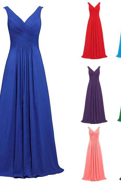 Vintage Royal Blue Chiffon Bridesmaid Dresses V Neck Prom Dresses Plus Size Wedding Party Gowns ,2018 Sexy Maid Of Honor Dresses, Women Party Gowns ,Cheap Bridesmaids Dresses