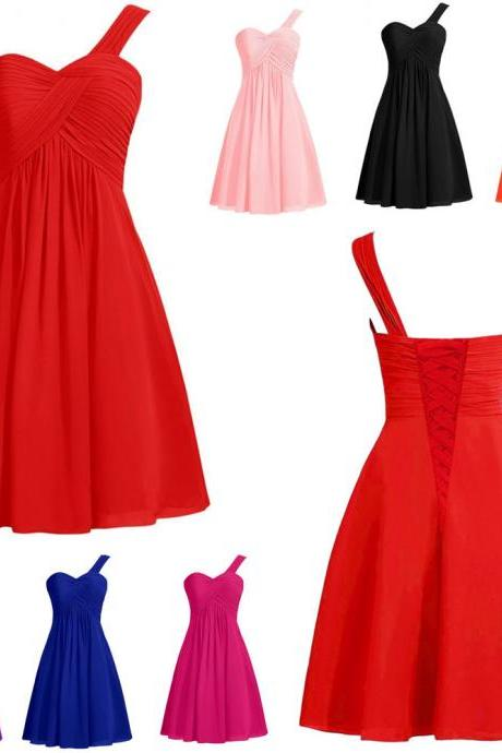 Red Chiffon Ruffle Short Bridesmaid Dresses Plus Size One Shoulder Party Dress 2018 New Arrival Lace Up Wedding Party Gowns ,Sexy Red Prom Dress, Mini Cocktail Gowns