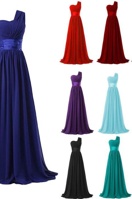 Vintage Red Chiffon Bridesmaid Dresses Prom Dresses One Shoulder Plus Size Wedding Party Gowns ,2018 Sexy Maid Of Honor Dresses, Women Party Gowns ,Cheap Bridesmaids Dresses