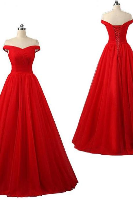 2018 Off Shoulder Red Tulle Long Prom Dresses Floor Length Women Party Dress Custom Made A Line Formal Evening Dress , Long Prom Gowns , Party Gowns