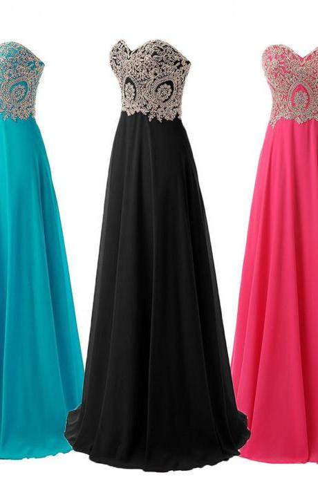 2018 New Arrival Gold Lace Long Prom Dresses Black Chiffon Ruffle Formal Evening Dresses Lace Up Girls Party Dresses, 2018 Black Cheap Bridesmaid Dresses