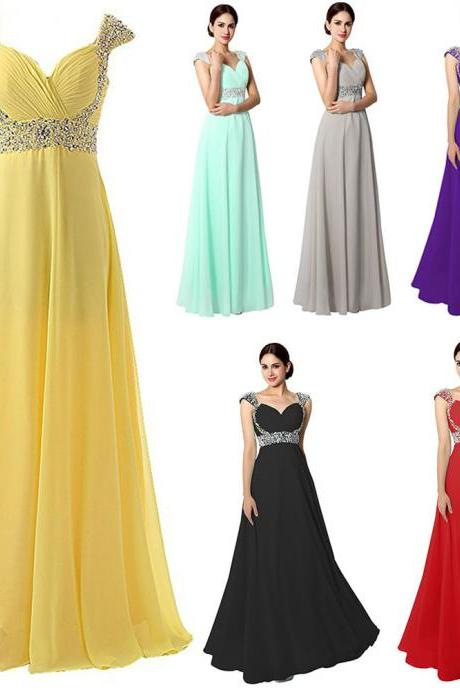 Plus Size Royal Blue Caped Sleeve Chiffon Prom Dresses 2018 Custom Made Beaded Long Evening Dress Strapless Ruffle Women Party Dress ,2018 Formal Evening Gowns