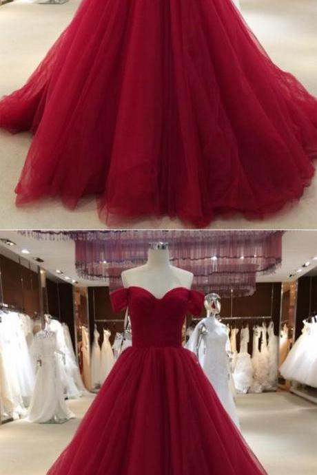Plus Size Burgundy Ruffle Formal Evening Dresses 2018 Off Shoulder Tulle Women Prom Dresses Custom Made A Line Arabic Prom Gowns