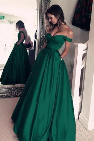 Dark Green Satin V-neck Prom Long Dresses Off Shoulder Evening Gowns Beaded SashesSexy Formal Evening Dresses,,Plus Size Wedding Guest Gowns