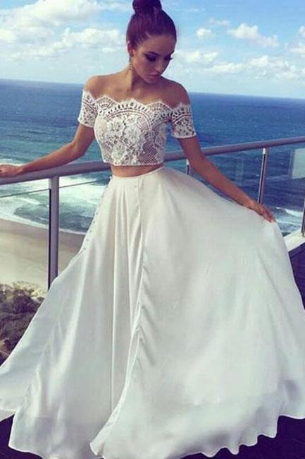 Two Pieces Off The Shoulder Prom Dresses,Long Prom Dresses,Cheap Prom Dresses, Evening Dress Prom Gowns, Formal Women Dress,Prom Dress ,Formal Dress,2018 Evening Dress,Dresses,Dress,Gowns
