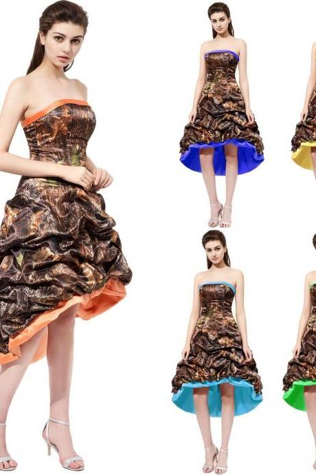 Vintage Camo Short Camo Bridesmaid Dresses Prom Dresses 2018 Plus Size Wedding Party Gowns ,,2018 Sexy Maid Of Honor Dresses, Women Party Gowns ,Cheap Bridesmaids Dresses,High Low Homecoming Dress , High Low Camo Prom Dress