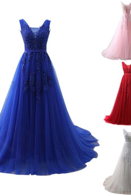 2018 New Arrival Royal Blue Lace Apppliqued Long Prom Dresses V Neck Tulle Off Shoulder Formal Women Gowns Plus Size Long Evening Dress Party Gowns