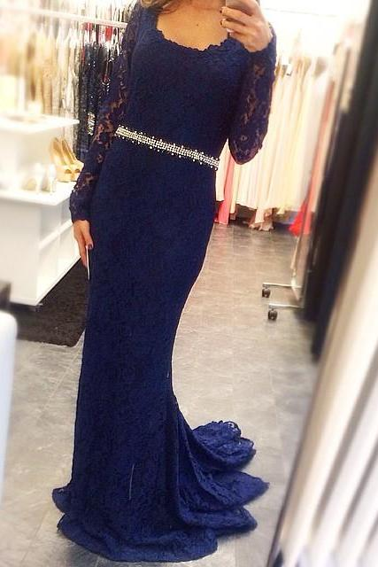 Evening Dress,Mermaid Evening Dress,Long Sleeves Evening Dress,Lace Evening Dress,Navy Blue Evening Dress,Plus Size Evening Dress,Evening Dress With Sash,Formal Dress, Prom Dresses Formal . Crystal Prom Gowns