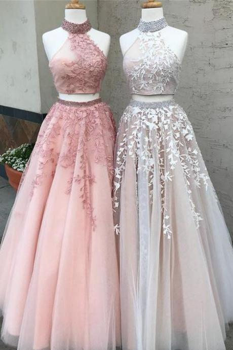 Two Piece Prom Dress,High Neck Prom Dress,Lace Prom Dress,Beading Prom Dresses,Prom Dresses,Backless Prom Dress A-line Prom Dresses, 2 Pieces Cocltail Dress