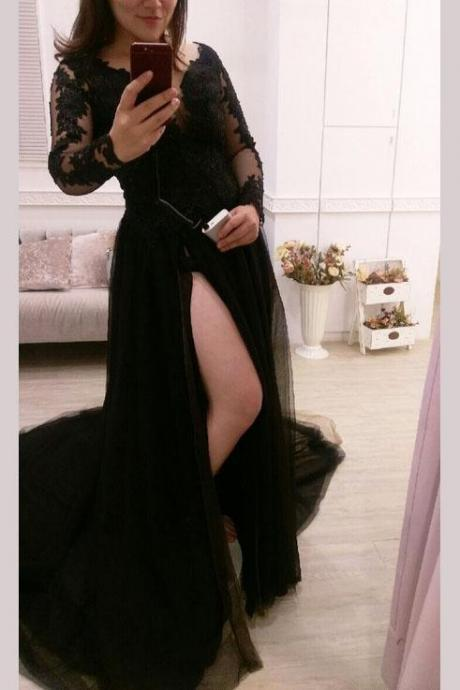 Black Long Sleeve Evening Dress, Sexy Split Side Long Prom Dress, Appliques Prom Gown,2018 New Arrival Black Lace Muslim Prom Dresses Custom Made Wedding Party Gowns