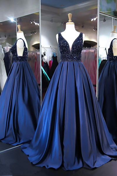 Beading Ball Gown Prom Dress,Long Prom Dresses,Prom Dresses,Evening Dress, Evening Dresses,Prom Gowns, Formal Women Dress,prom dress,Dark Blue Beaded Long Prom Dresses, Ball Gowns Wedding Gowns