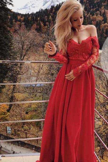 Red Long Sleeve Lace Elegant Prom Dress,Long Prom Dresses,Prom Dresses,Evening Dress, Evening Dresses,Prom Gowns, Formal Women Dress,Wedding Party Dress