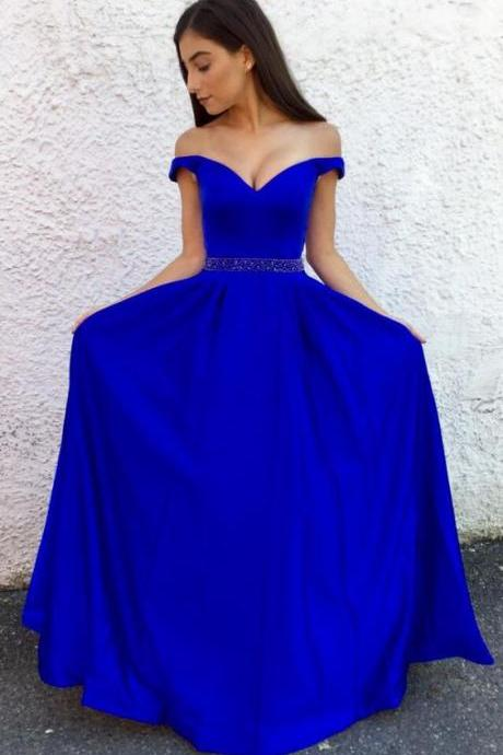 Royal Blue Off The Shoulder Prom Dresses,A Line Formal Evening Gown, Prom Dress With Beaded Waist, Beaded Prom Dress, a line Prom Gowns