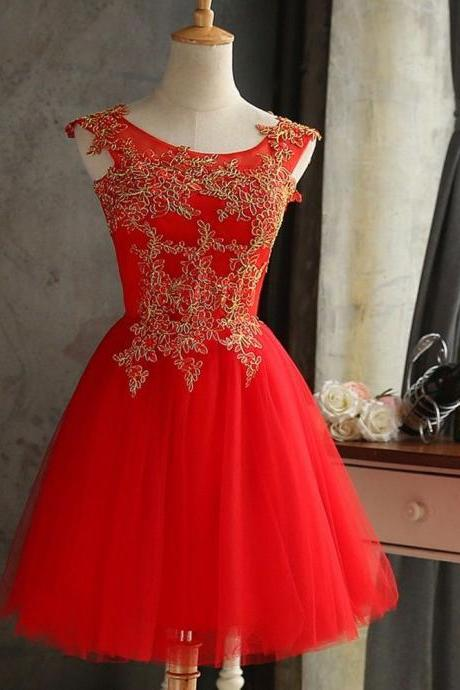 2018 New Arrival Lace applique Short Bridesmaid Cocktail Homecoming Dresses ,Short Bridesmiad Gowns , Plus Size Women Party Gowns
