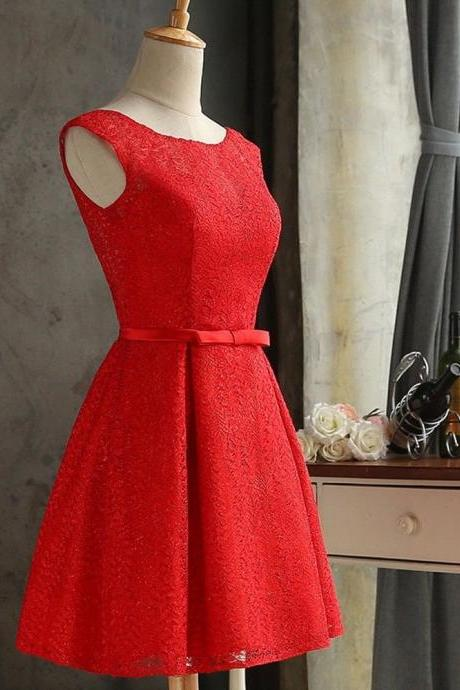 Vintage Short Red Bridesmaid Dresses Prom Dresses 2018 Plus Size Wedding Party Gowns ,2018 Sexy Maid Of Honor Dresses, Women Party Gowns ,Cheap Bridesmaids Dresses,Spaghetti Straps Homecoming Dress Short , Prom Dress Mini