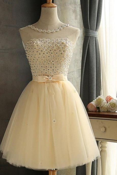 2018 New Arrival White Floral Neck Short Homecoming Dresses ,Short Beaded Bridesmiad Gowns , Plus Size Women Party Gowns ,Off Shoulder Short Homecoming Dresses, Short Cocktail Gowns , Wedding Women Dresses,White Beaded Bridesmaid Dresses