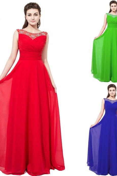 Custom Made Red Chiffon Long Prom Dresses 2018 New Arrival Beaded Ruffle Formal Evening Dress Plus Size Formal Dress Summer Prom Gowns , 2018 Off Shoulder Party Dress
