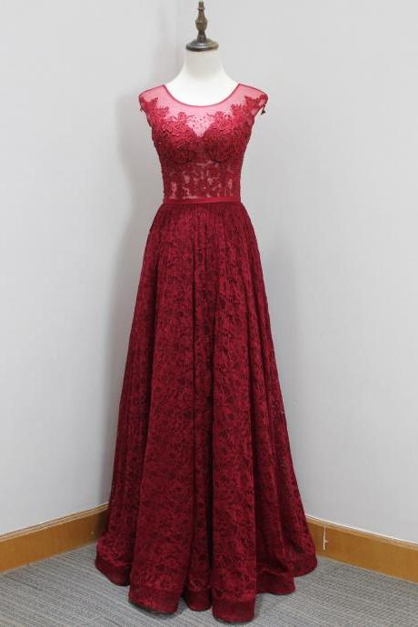 Plus Size Burgundy Lace Prom Dresses 2018 Sexy Sheer Lace Formal Evening Dresses Custom Made Wedding party Gowns ,Off Shoulder Prom Dress, Pageant Gowns , Long Prom Dress