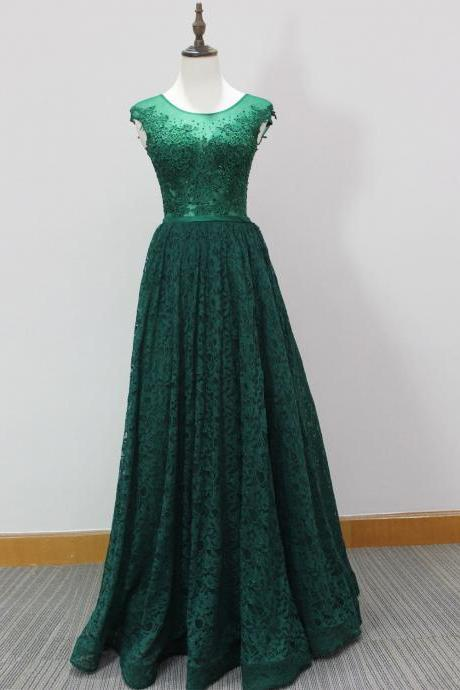 Plus Size Green Lace Prom Dresses 2018 Sexy Sheer Lace Formal Evening Dresses Custom Made Wedding party Gowns ,Off Shoulder Prom Dress, Pageant Gowns , Long Prom Dress