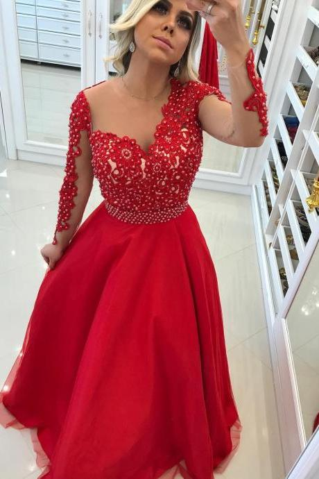 Asymmetrical Neck Long Sleeves Red Prom Dresses with Pearls Beaded Appliques 2018 Plus Size Sheer Formal Prom Gowns Custom Made Long Evening Dress, Wedding Party Gowns
