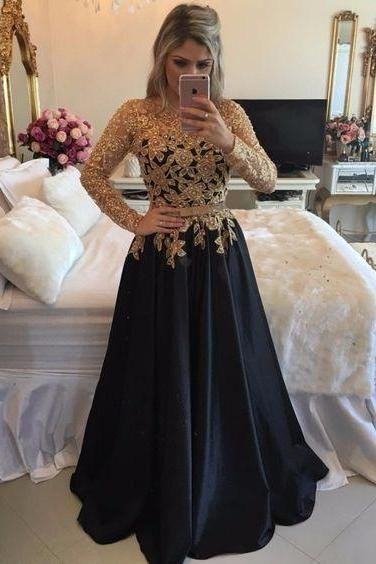 Sexy Illusion Back Long Party Dresses, Long Sleeve Black Prom Dresses With Gold Sequins, A Line Black Satin Pageant Prom Dresses, Jewel Neck Black Gala Dresses Plus Size , Formal Black Evening Dress,Customize Gold Beaded Party Dress