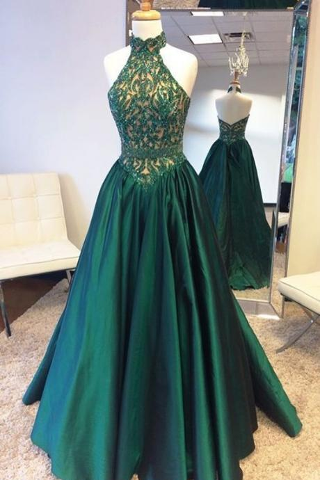 Halter Prom Dress with Glitter Appliques,Prom Dresses, Formal Prom Gown, evening dresses, Quinceanera Dresse,2018 Greem Satin Long Evening Dress,Plus Size Formal Pageant Gowns