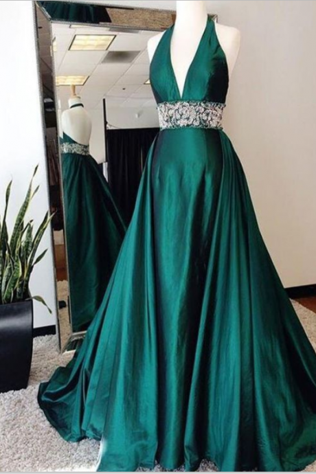 Halter Emerald Green Prom Dress, with Open Back Prom Dresses,Prom Dresses, Formal Prom Gown,evening dresses, Quinceanera Dresses,Sexy Backless Evening Dresses