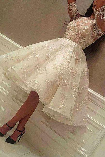 Half Sleeves Short Homecoming Dresses,Party Dress with Lace,Evening dresses,Short Homecoming Dresses, Wedding Party Gowns