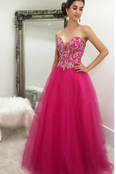 Modest Prom Dress,crystal beaded sweetheart prom dress,long fuchsia ball gowns prom dresses,quinceanera gowns,2018 Shiny Formal Evening Dress,Plus Size Women Gowns