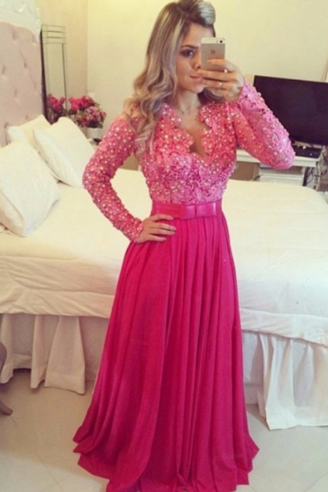 Fuchsia Lace and Chiffon Elegant Long Sleeves Evening Gowns 2018 Long Sleeve Lace Prom Dresses Beaded Sexy Cheap Formal Wedding Women Gowns , A Line Women Party Gowns