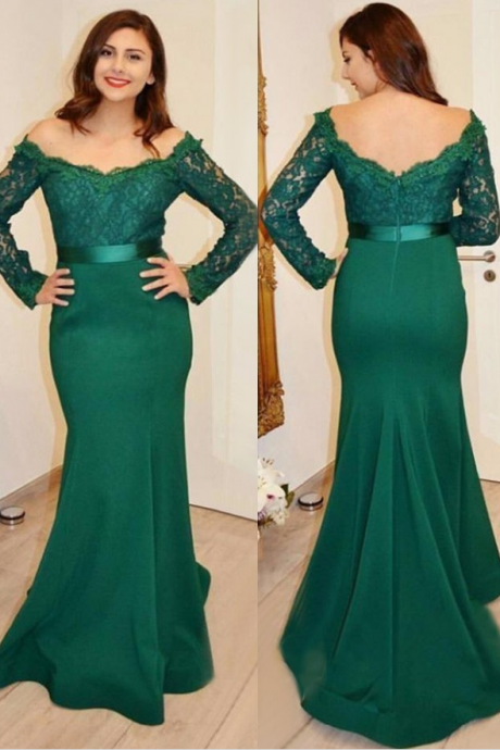 Long Sleeved Trumpet Formal Occasion Dress Prom Dress, 2018 New Arrival Green Lace Prom Dresses, Mermaid Evening Dress, Wedding Party Dress , Plus Sizw Women Gowns
