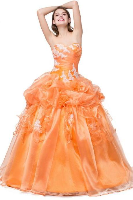 Vestidos de 15 anos Quinceanera Dresses Special Occasion Dresses Ball Gown Cheap Quinceanera Gown,2018 New Top Beaded Long Orange Prom Dress, Wedding Party Dresses, Organza Tulle Prom Dresses, Luxury Crystal Formal Pricess Wedding guest Gowns