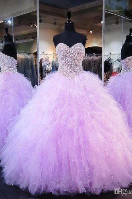 Lavender Quinceanera Dresses Ball Gown Corset Crystals Pearls Ruffles Tulle 2018 Lace Up Back Pageant Gowns For Girls Sweetheart Prom Dress ,Cudtom Made Auinceanera Gowns