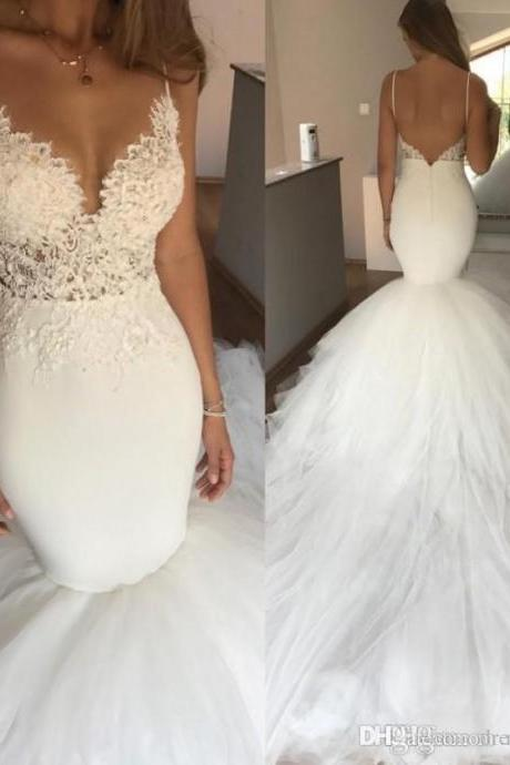 Ivory Sexy Spaghetti Straps Boho Mermaid Beach Wedding Dress Backless Bridal Lace Tulle Long Train Cheap Wedding Gowns For Bride Dresses,2018 Sexy Mermaid Wedding Gowns