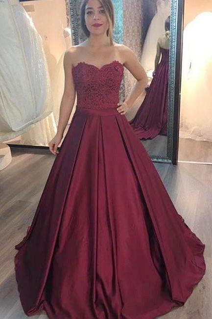 Charming Prom Dress, Elegant Appliques Prom Dresses, Long Evening Dress, Formal Dress,2018 Burgunbdy Satin Evening Dresses, Formal Wedding Party Gowns