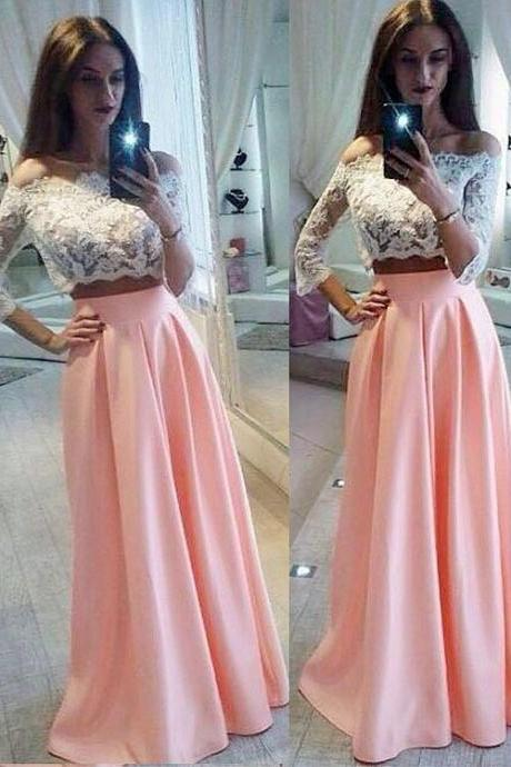 Charming Prom Dress, Appliques Prom Dresses, Long Evening Dress, Party Gown,2018 Two Pieces Long Prom Dresses, Plus Size Wedding Party Gowns