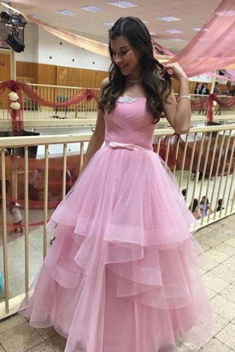 Charming Prom Dress, Sexy Tulle A Line Prom Dresses, Long Evening Dress, Homecoming Dress.2018New Arrival Pink Tulle Prom Gowns , Custom Made Evening Dresses