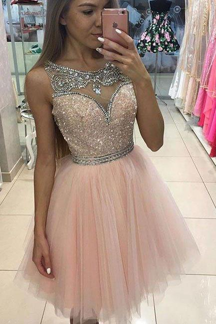 homecoming dresses,pink tulle short prom dress for teens, pink homecoming dress,Sparkly Crystal Tulle Short Cocktail Gowns , Plus Size Graduation Gowns