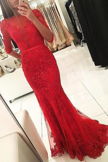 Charming Prom Dress, Sexy Half Sleeve Mermaid Evening Dress, Formal Evening Gown, Appliques Beaded Backless Prom Dresses.2018 New Arrival Red Prom Dreeses