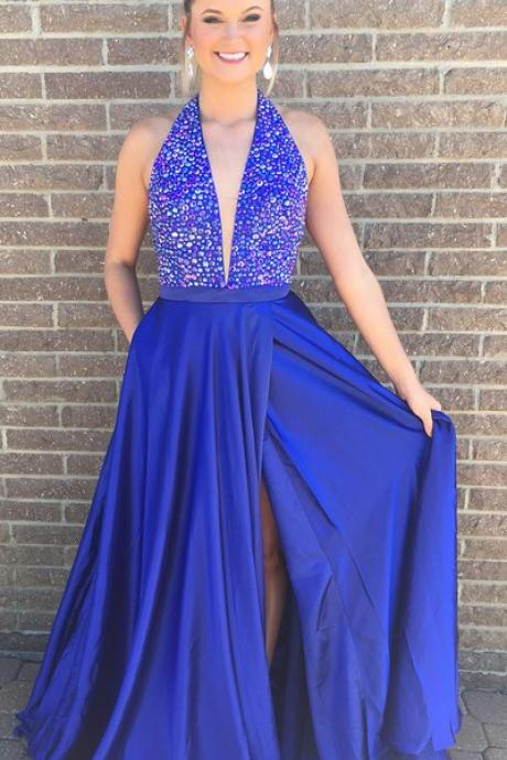 Charming Prom Dress, Sexy Sleeveless Prom Dresses, Blue Split Slit Long Evening Party Dress,2018 Halter Beaded Prom Dresses,Rpyal Blue Satin Evening Dress