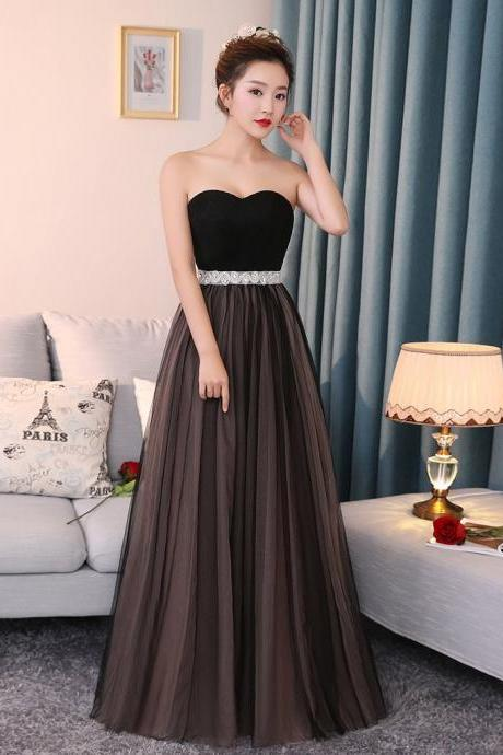 LONG PROM DRESS A-LINE SWEETHEART CHOCOLATE SLEEVELESS RUFFLES TULLE CHEAP EVENING DRESS2018 Custom Made Long Evening Dresses
