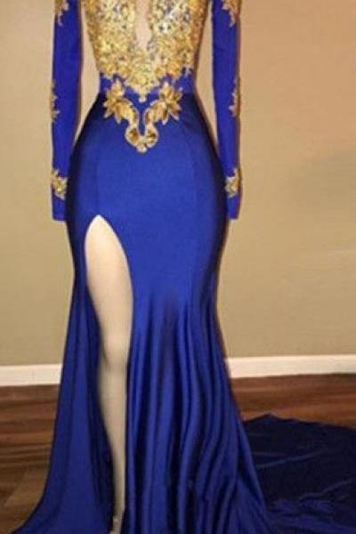 Elegant Royal Blue 2018 Prom Dress Mermaid Long Sleeve With Applique Custom Made Long Prom Gowns ,Plus Size Gold Lace Arabic Evening Dresses, Wedding Party Gowns