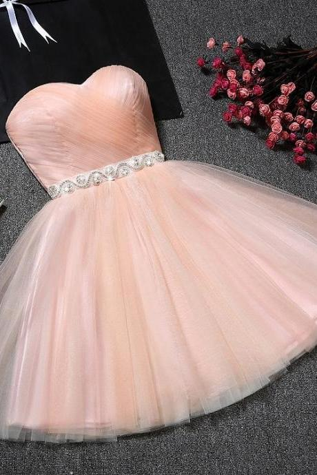 Homecoming Dresses, Short Prom Dresses, Formal Dresses, Graduation Party Dresses, Banquet Gown ,2018 Pius Size Beaded Crystal Tulle Mini Cocktail Dresses