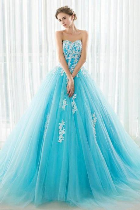 Plus Size Sky Blue Prom Dresses 2018 Custom Made Sweetheart Tulle Lace Women party Gowns , Pricess Women Gowns , New Arrival Women Wedding Gowns , Elegant Prom Gowns