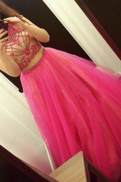 Halter Neck Beaded Two Piece Prom Dresses, Wedding Party Dresses, Graduation Party Dresses, Formal Dresses,2018 Plus Size Girls Wedding Gowns