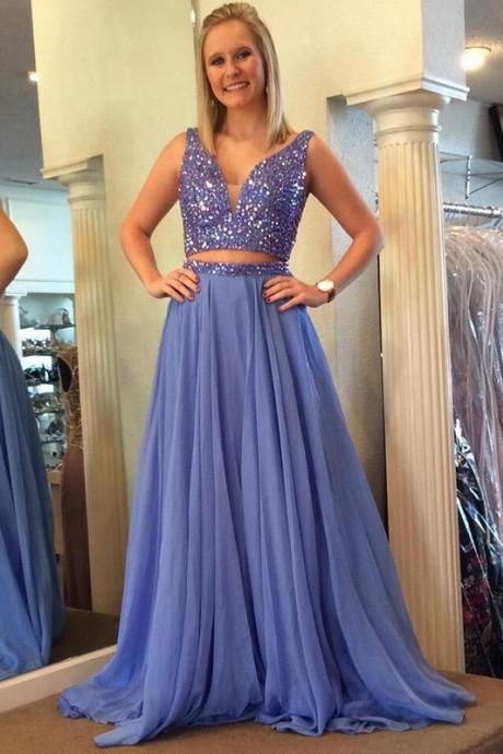 Two Pieces Prom Dress , Evening Dresses, Formal Dresses, Graduation Party Dresses,2018 Shiny Beaded 2 Pieces Cocktail Dresses, Long Graduation Gowns