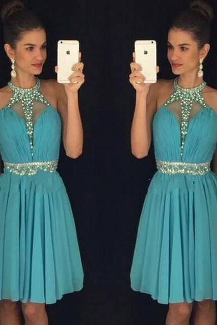 New Arrival High Neck Green Beaded Short Homecoming Dresses Plus Size Chiffon Mini Cocktail Dress Girls Homecoming Dresses , Party Gowns Mini
